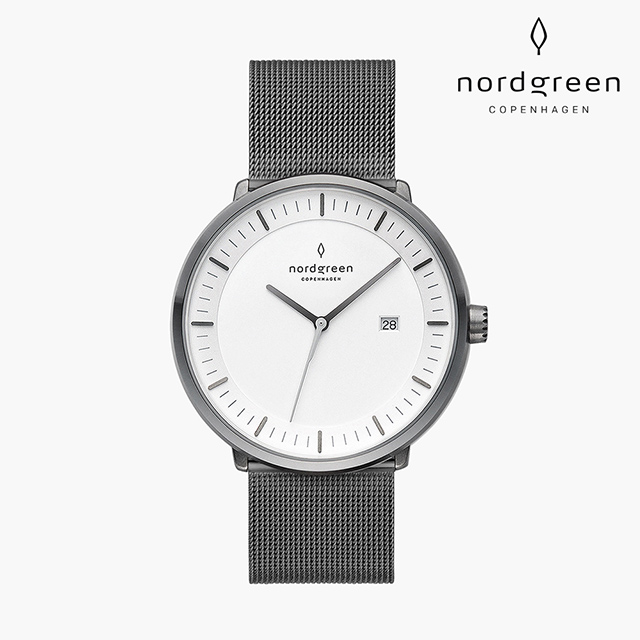 【Nordgreen】Philosopher 哲學家 深空灰系列 深空灰鈦鋼米蘭錶帶手錶禮盒組40mm
