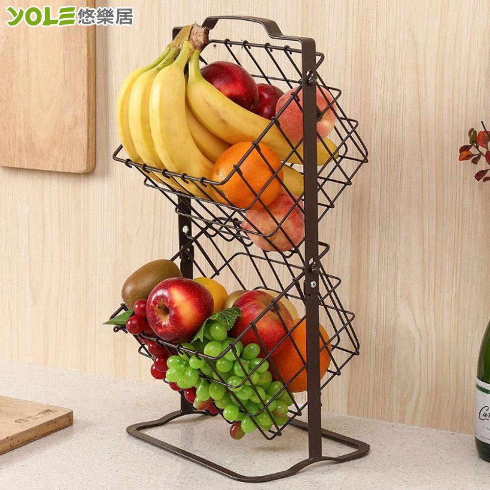 yole悠樂居日式烤漆鐵製廚房多功能手提雙層置物籃架#1132097