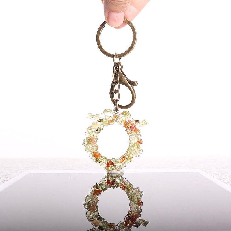 寶石聖誕花圈鑰匙圈(聖誕禮物\交換禮物)天然礦石溫和、平靜、寧