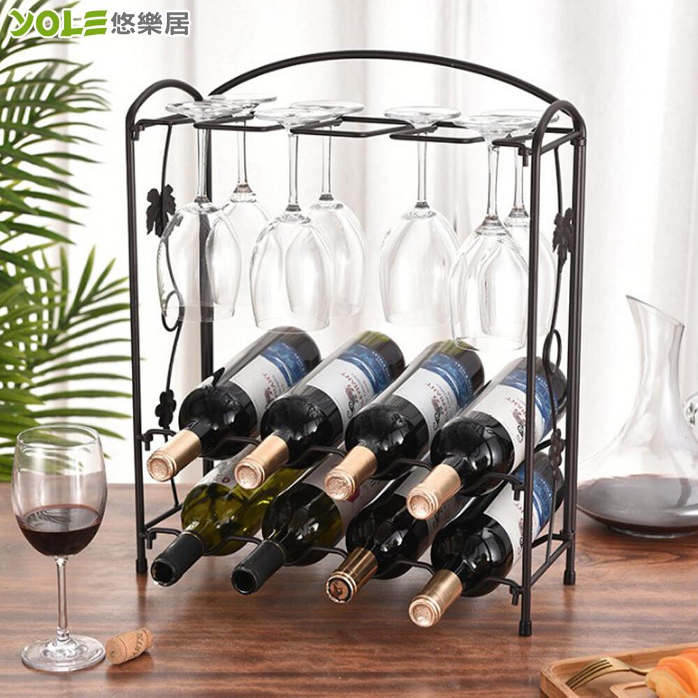 yole悠樂居歐式鐵藝8格折疊雙層紅酒杯酒架-深銅色#1132096