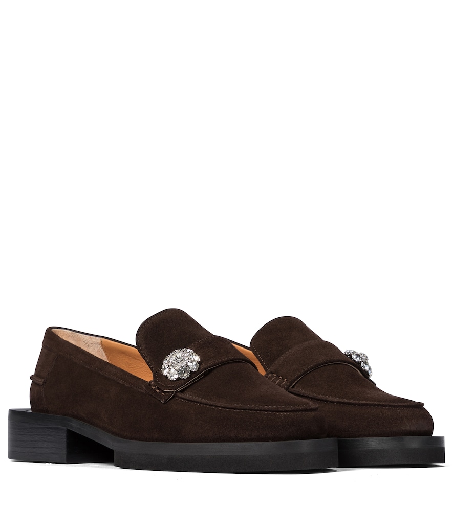 Jewel suede loafers