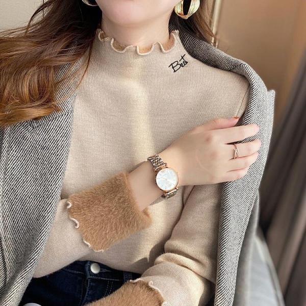 一體絨毛衣女加厚冬2020年新款加絨半高領套頭內搭黑色打底針織衫《蓓娜衣都》