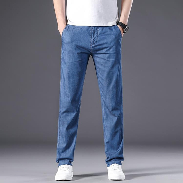 牛仔褲 男莫代爾商務薄款爸爸中腰彈力直筒寬松休閑冰絲褲交換禮物