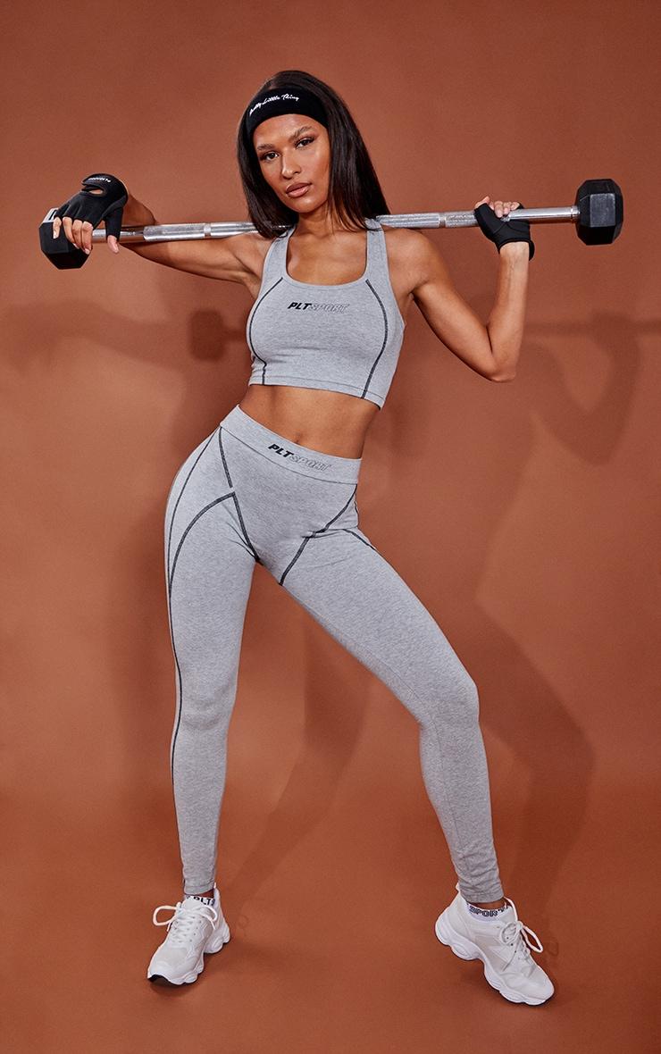 Grey Marl Cotton Luxe Stitch Detail Gym Leggings