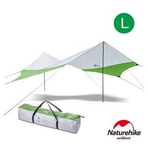 Naturehike 旭日210T抗紫外線防水遮陽六角天幕 附帳桿L號 綠灰