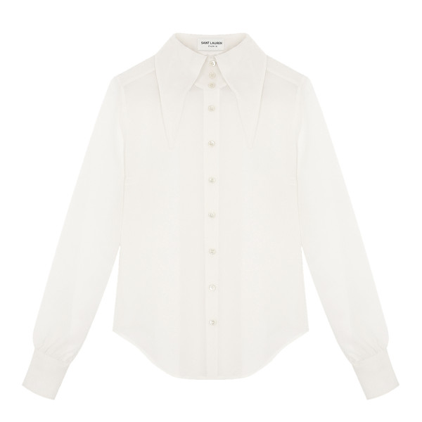 Saint Laurent Ivory shirt with oversized pointed collar
