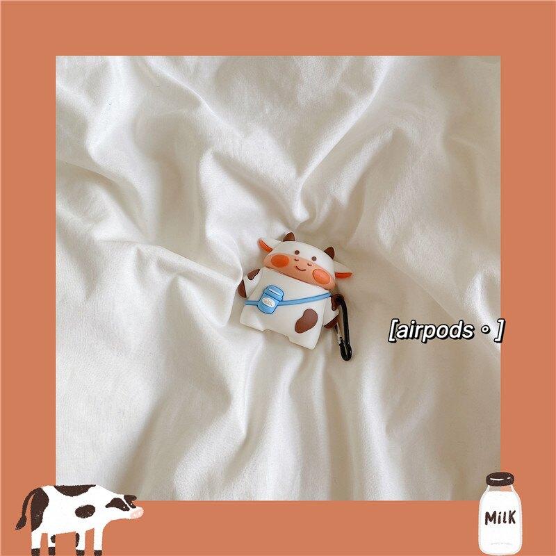 耳機保護套 超萌卡通奶牛適用airpods3代蘋果藍芽無線耳機套airpods1/2軟硅膠保護套創意個性防摔防丟掛件女可愛『CM397975』