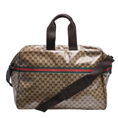 GUCCI 經典GG亮面帆布皮革飾邊拉鍊旅行袋