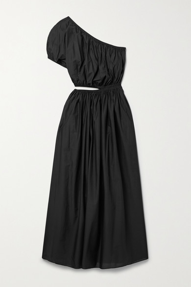 Matteau - 【net Sustain】单肩挖剪纯棉府绸超长连衣裙 - 黑色 - 1