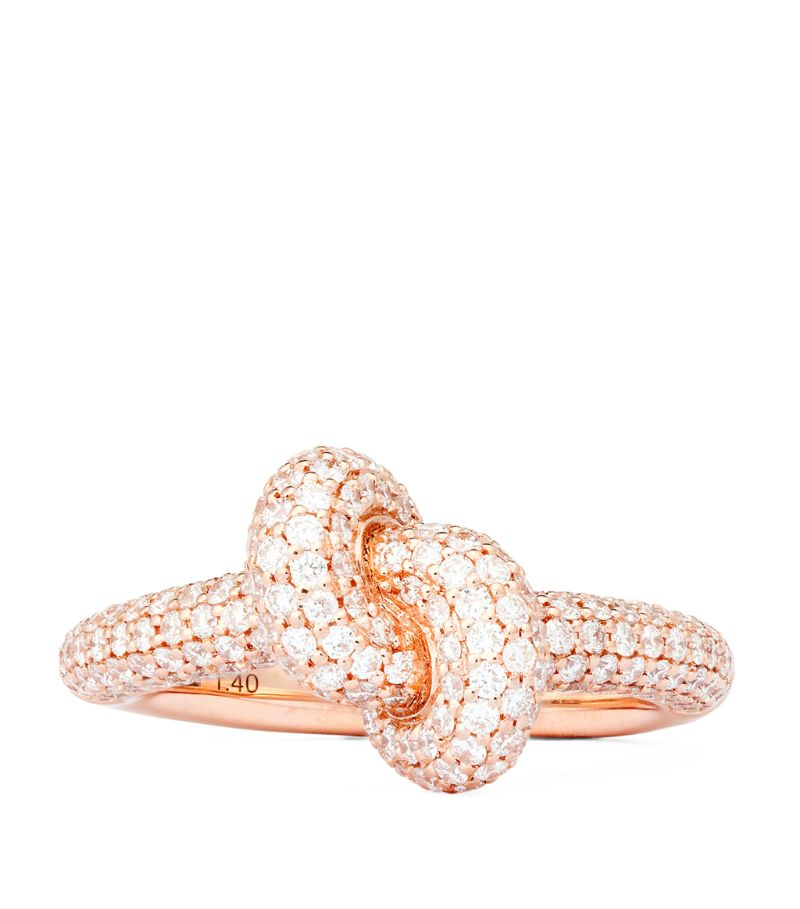 Engelbert Rose Gold And Diamond Absolutely Tight Knot Ring (Size 55)