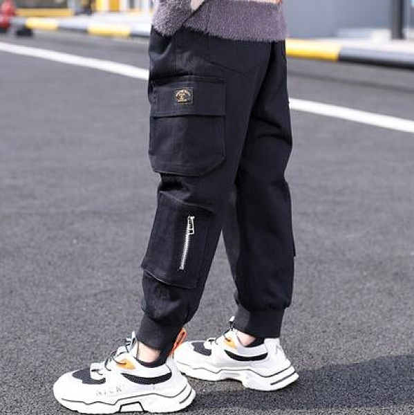 男童下裝 兒童裝男童加絨褲子春款2021年新款冬裝中大童加厚男孩工裝褲【快速出貨八折鉅惠】