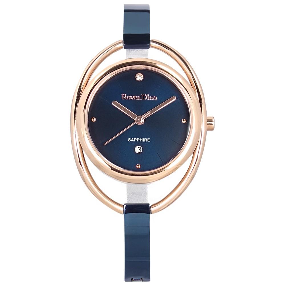 羅梵迪諾 Roven Dino / 優雅 特殊造型 日期 不鏽鋼手錶 藍x玫瑰金框 / RD784BUBE / 31mm
