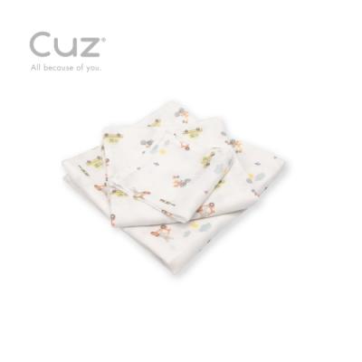 Cuz 有機棉紗布巾兔子慢慢騎(防皺紗布巾)30cm(2入)