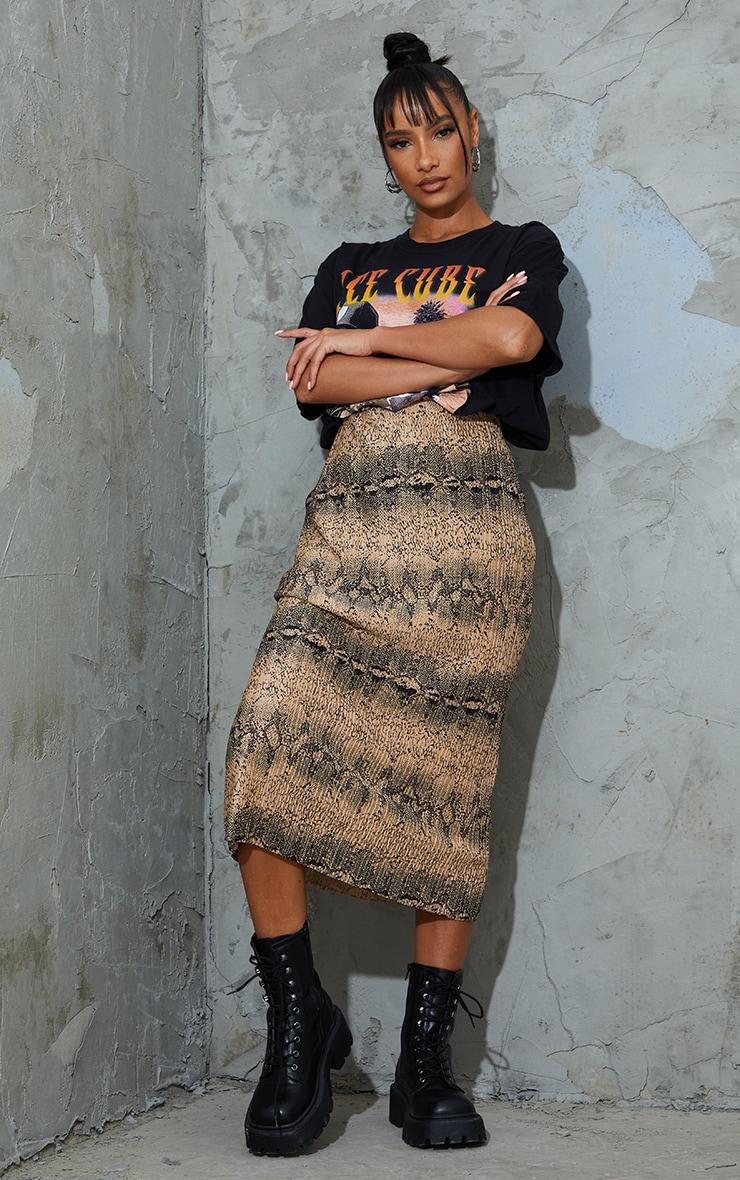 Camel Snake Print Plisse Printed Midi Skirt