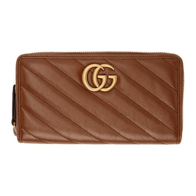 Gucci 棕色 GG Marmont 2.0 环绕式拉链钱包