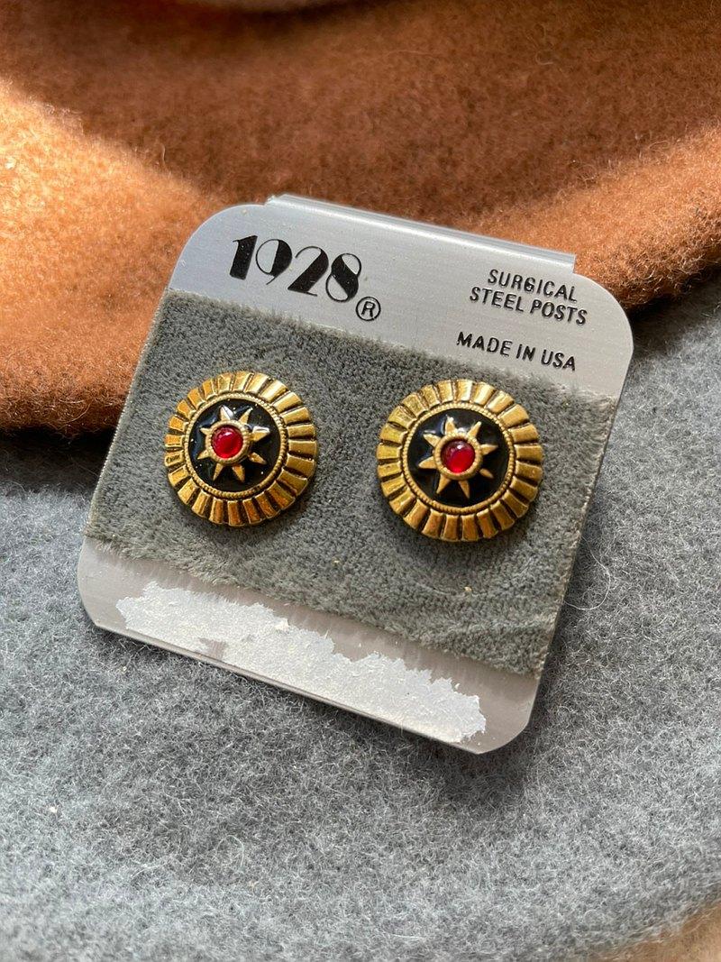 台灣現貨- Vintage-古董金色圓形星星五芒星琺瑯針式耳環 1928
