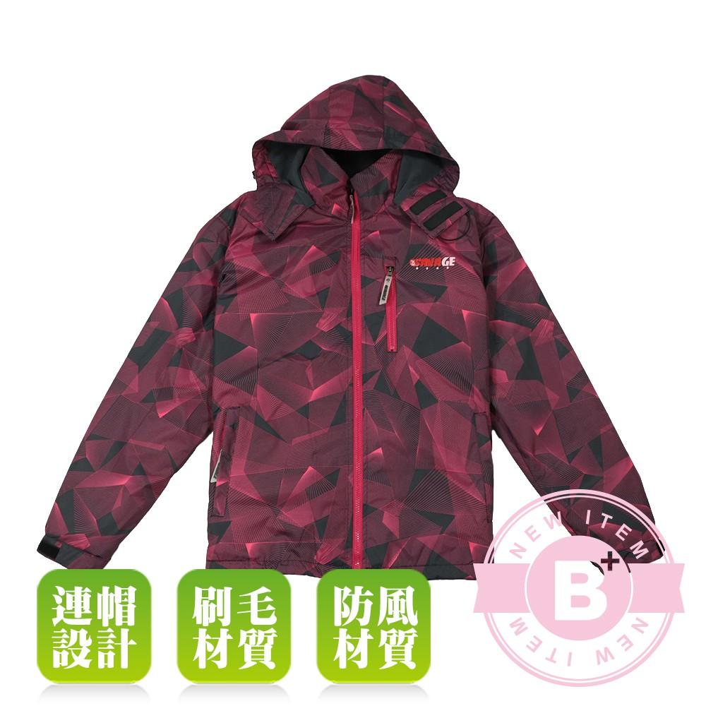 SIND-大尺碼-女款 連帽防風外套-酒紅-B61501