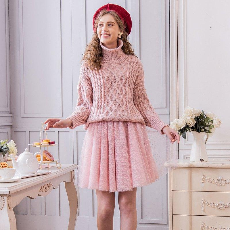 【預購】Flowers粉紅小花波點可愛澎澎短紗裙