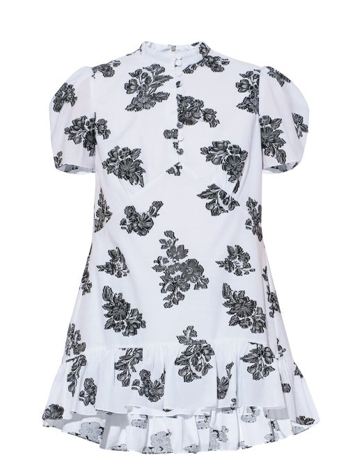 Erdem - Editha Floral-fil Coupé Gathered-twill Blouse - Womens - White Black