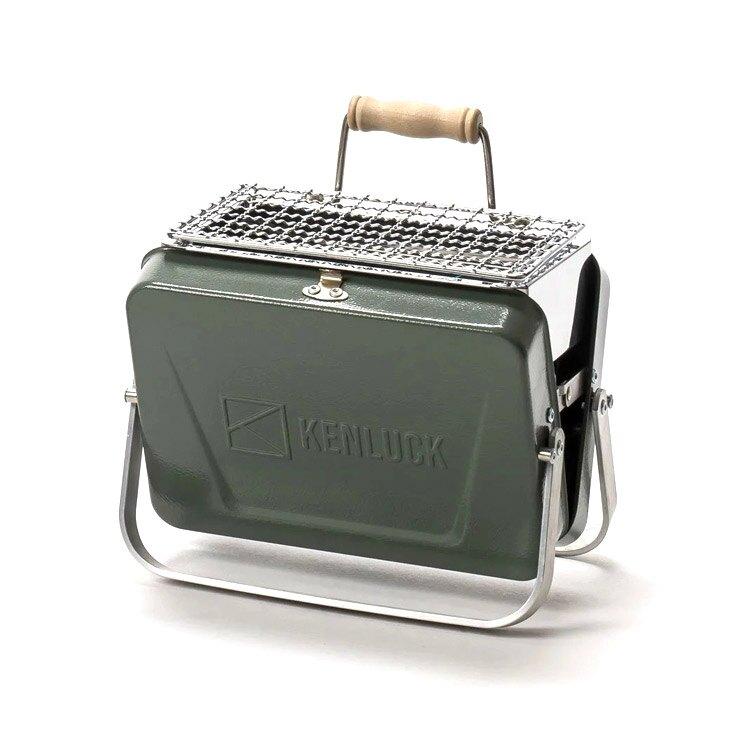 KENLUCK 迷你攜帶型烤肉架Mini Grill 灰綠 / 城市綠洲 (烤爐 烤肉爐 BBQ 焚火台 火爐 台灣品牌)