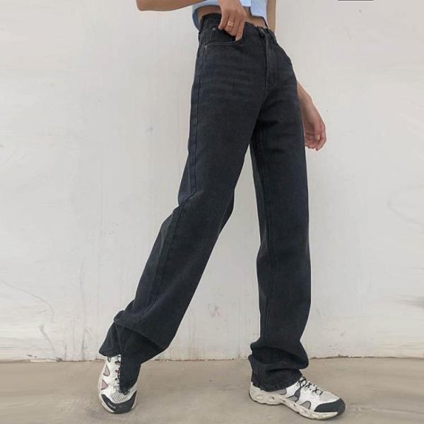 新品熱銷 秋冬新款設計感高腰顯瘦直筒開叉牛仔褲女寬松百搭垂感拖地闊腿褲