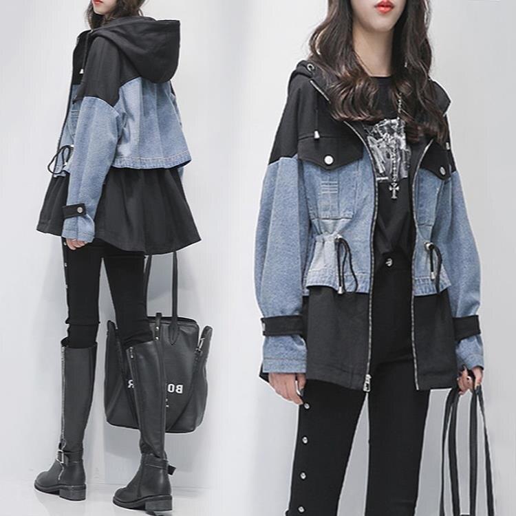 風衣 牛仔外套女秋季新款正韓寬鬆顯瘦拼接休閒風衣女中長款上衣潮