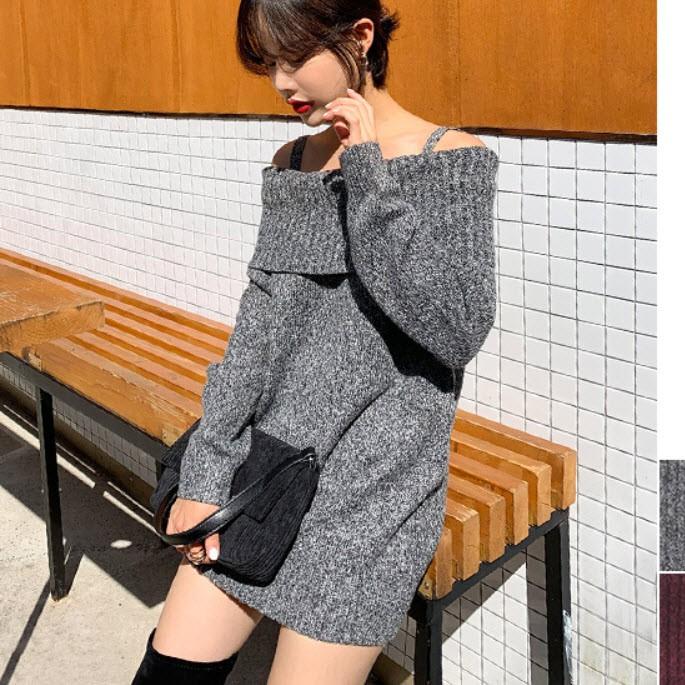 韓國細肩帶反折一字領親膚針織洋裝【BJBB153V】正韓 韓國製~首爾蝶衣