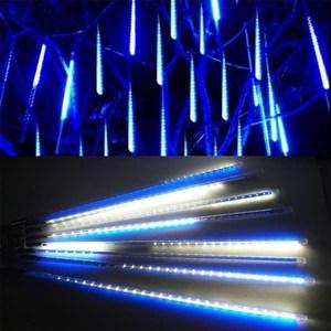 摩達客 聖誕燈裝飾燈LED流星燈串8條燈-藍白光插電式/單燈長50cm