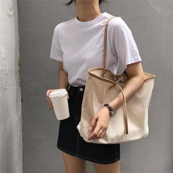 購物包 2019新款簡約撞色帆布包手提布包購物袋大容量單肩包休閒女包【快速出貨八折下殺】