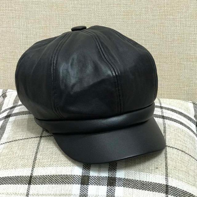 優質新品銀色pu皮八角帽子女士秋冬天復古英倫潮時尚百搭皮帽1入