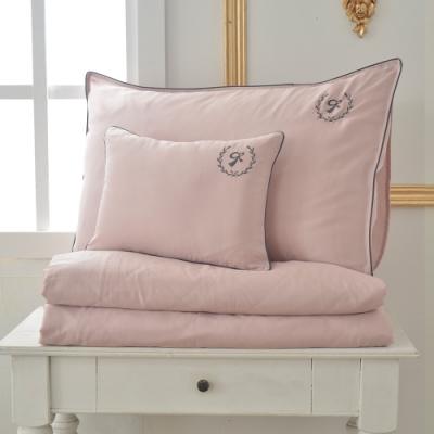 義大利La Belle 爵士典範 雙人天絲滾邊刺繡防蹣抗菌吸濕排汗兩用被床包組 粉色