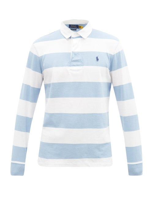 Polo Ralph Lauren - Logo-embroidered Stripe Cotton-jersey Rugby Shirt - Mens - Blue White