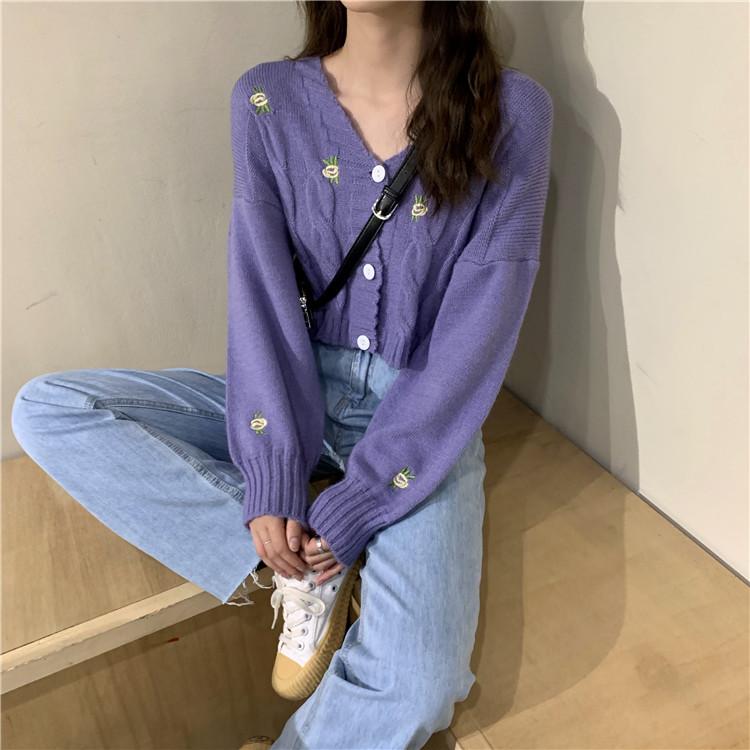 針織外套 1773056韓版寬鬆通勤洋氣設計感顯瘦V領百搭長袖開衫上衣外穿毛衣