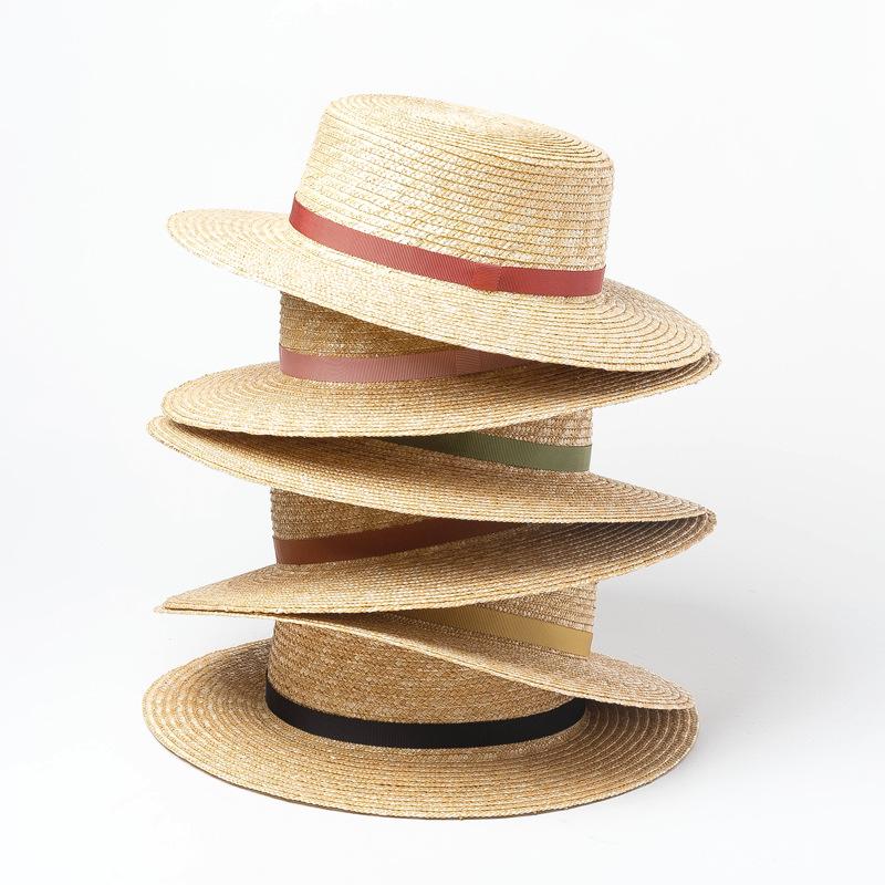 簡約時尚細織帶麥稈草平頂草帽女夏天百搭出游度假防曬遮陽禮帽潮1入