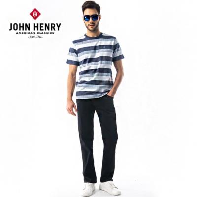 【JOHN HENRY】海軍風條紋短袖T恤-藍