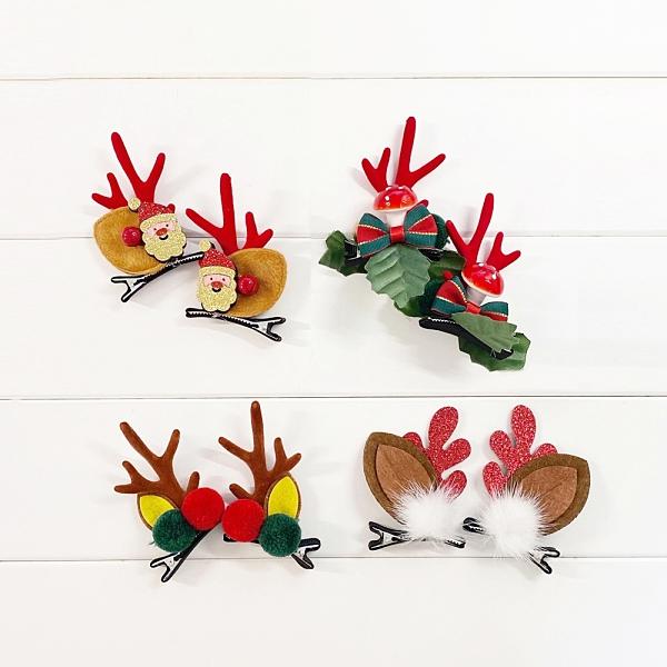 (4款一組) 聖誕麋鹿角髮夾 髮飾 髮夾 兒童髮飾 耶誕 聖誕節 交換禮物 女童 橘魔法 現貨