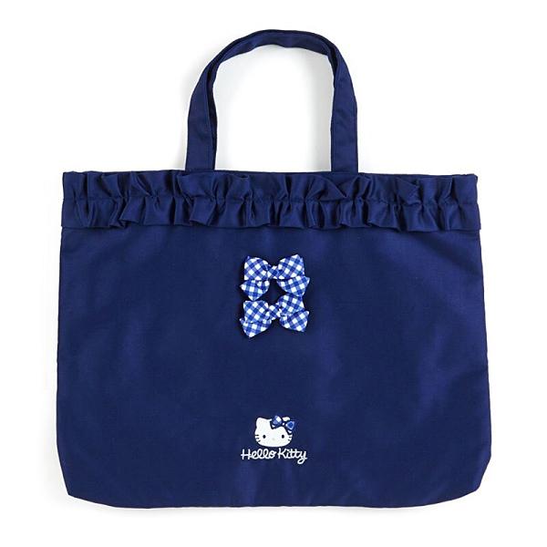 小禮堂 Hello Kitty 日製 橫式帆布手提袋 帆布托特包 書袋 補習袋 (藍 荷葉邊) 4550337-22835