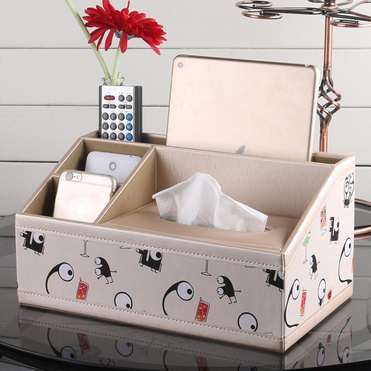 家用茶幾多功能紙巾盒 客廳抽紙盒歐式桌面遙控器收納盒創意皮革yh