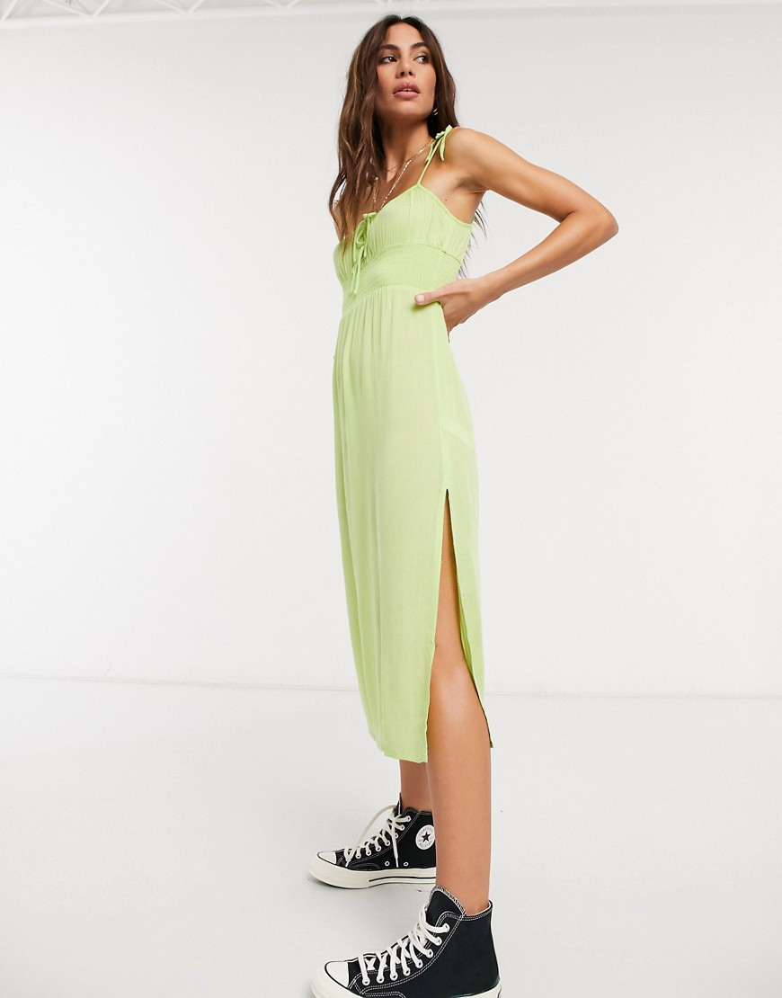 Topshop ruche front midi dress in lime-Green
