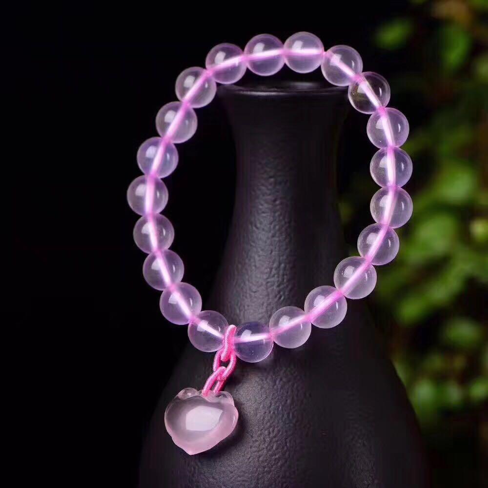 天然粉晶如意鎖手鏈平安如意吉祥女手鏈 招桃花旺姻緣粉水晶手鏈1入