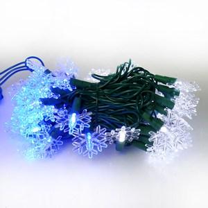 摩達客 聖誕燈LED燈50燈雪花造型燈(藍白光/綠線) (省電高亮度)