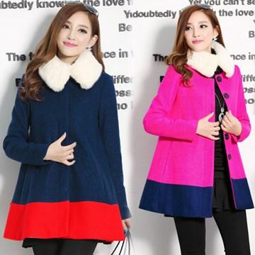 【韓國K.W.】L~XL現貨簡約毛領雙色拼接大衣毛呢外套