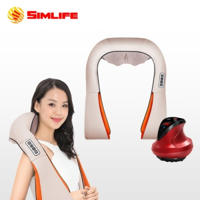 Simlife—頸放鬆刮痧拔罐組(溫熱/肩頸按摩帶)