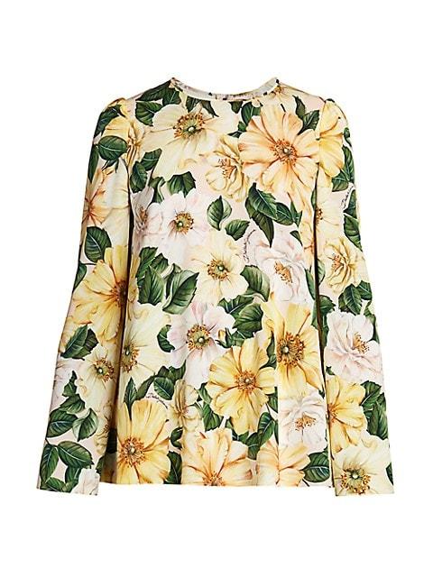Floral Silk Long-Sleeve Top