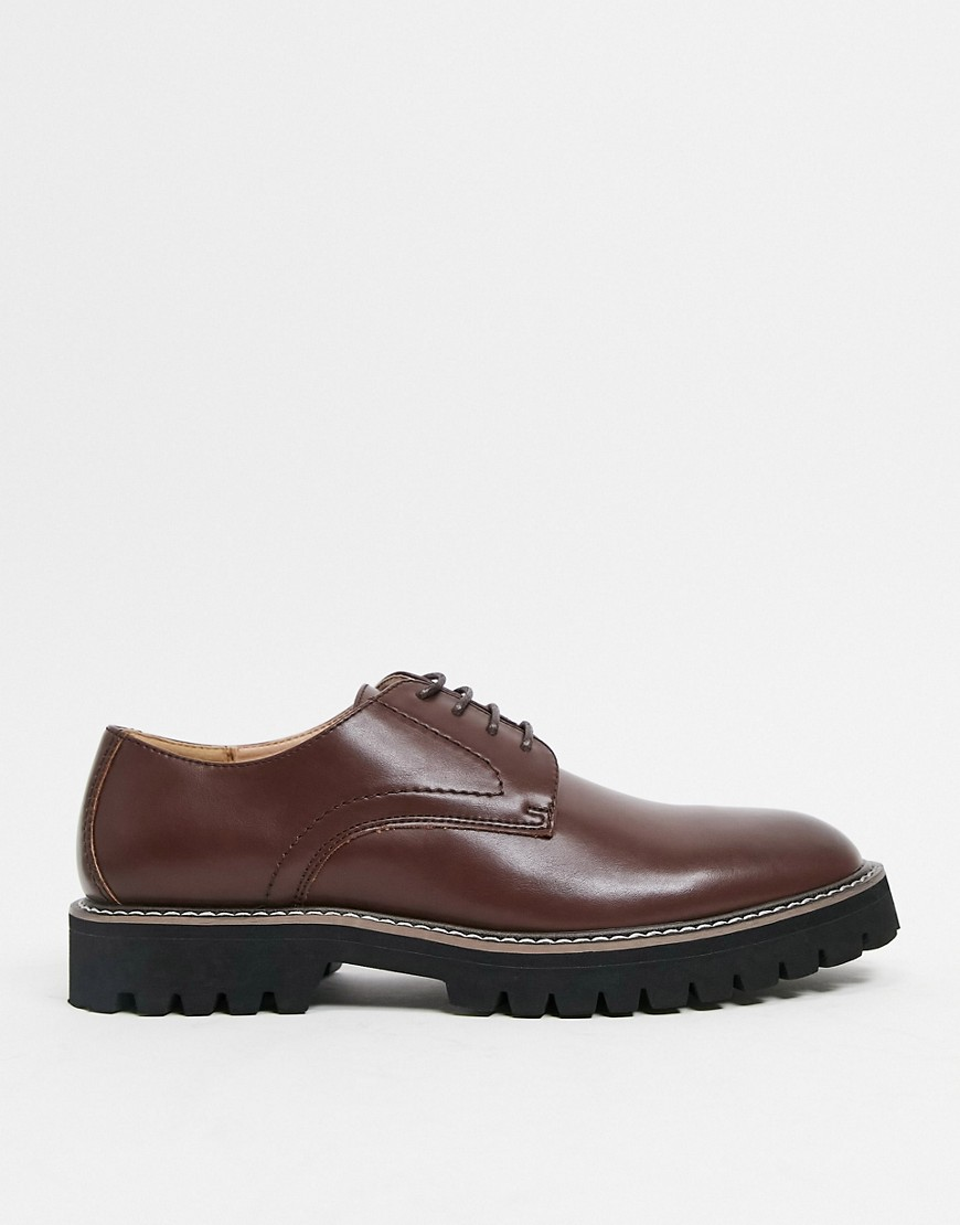 ASOS DESIGN derby lace up shoes in brown faux leather with black sole