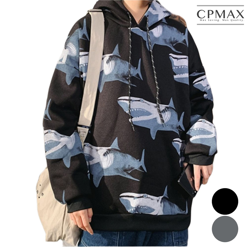 CPMAX 鯊魚連帽加絨帽T 帽T外套 舒適保暖 帽t 保暖T恤 大學t 連帽T恤 男生衣著 加絨長袖T恤 T161