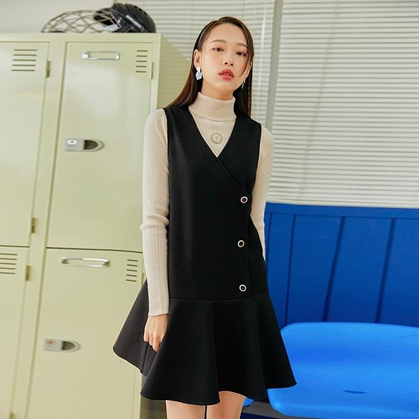 連身裙 V領荷葉排扣無袖洋裝CQ9748-創翊韓都