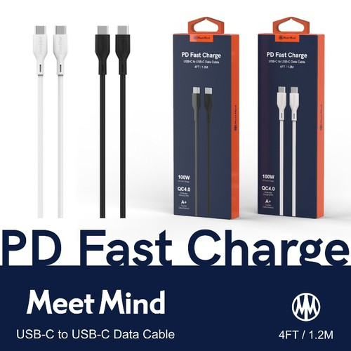 Meet Mind USB-C to USB-C PD/QC 100W 快速充電傳輸線(黑色120CM)[大買家]