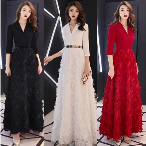 宴會禮服 女氣場女王西裝式高貴長款顯瘦主持人會簡單大氣長裙 莎瓦迪卡