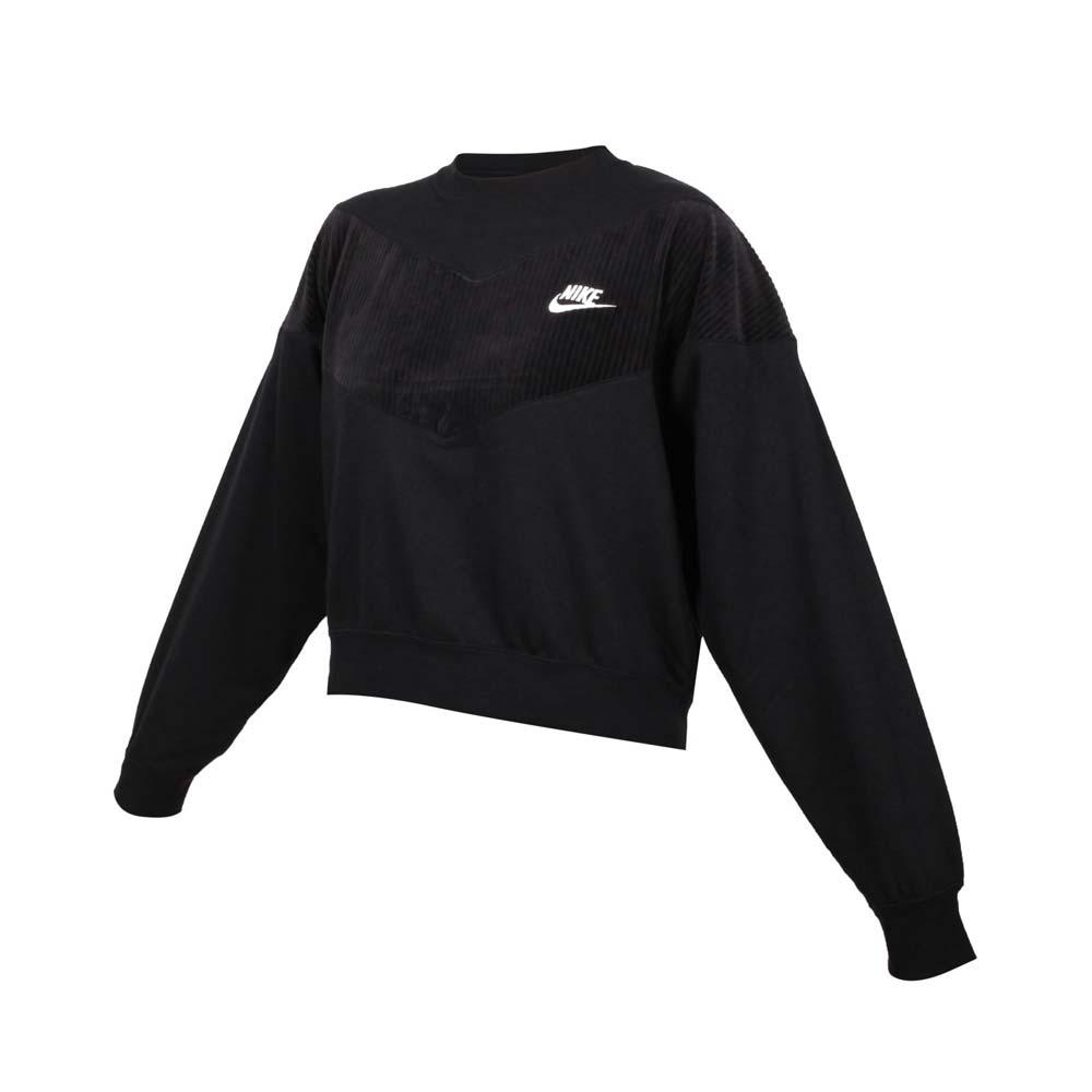 NIKE 女長袖T恤-大學T 燈芯絨 慢跑 刷毛 保暖 休閒 上衣 黑白
